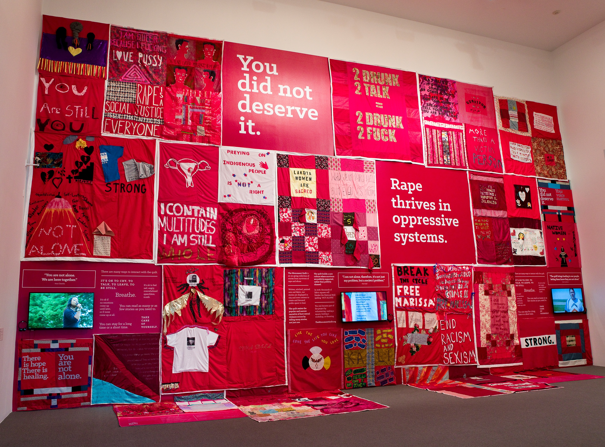 FORCE: Upsetting Rape Culture Co-Founded by: Hannah Brancato and Rebecca Nagle. Installation view of The Monument Quilt. 2013–ongoing. Courtesy of FORCE: Upsetting Rape Culture. Photo by Mitro Hood.