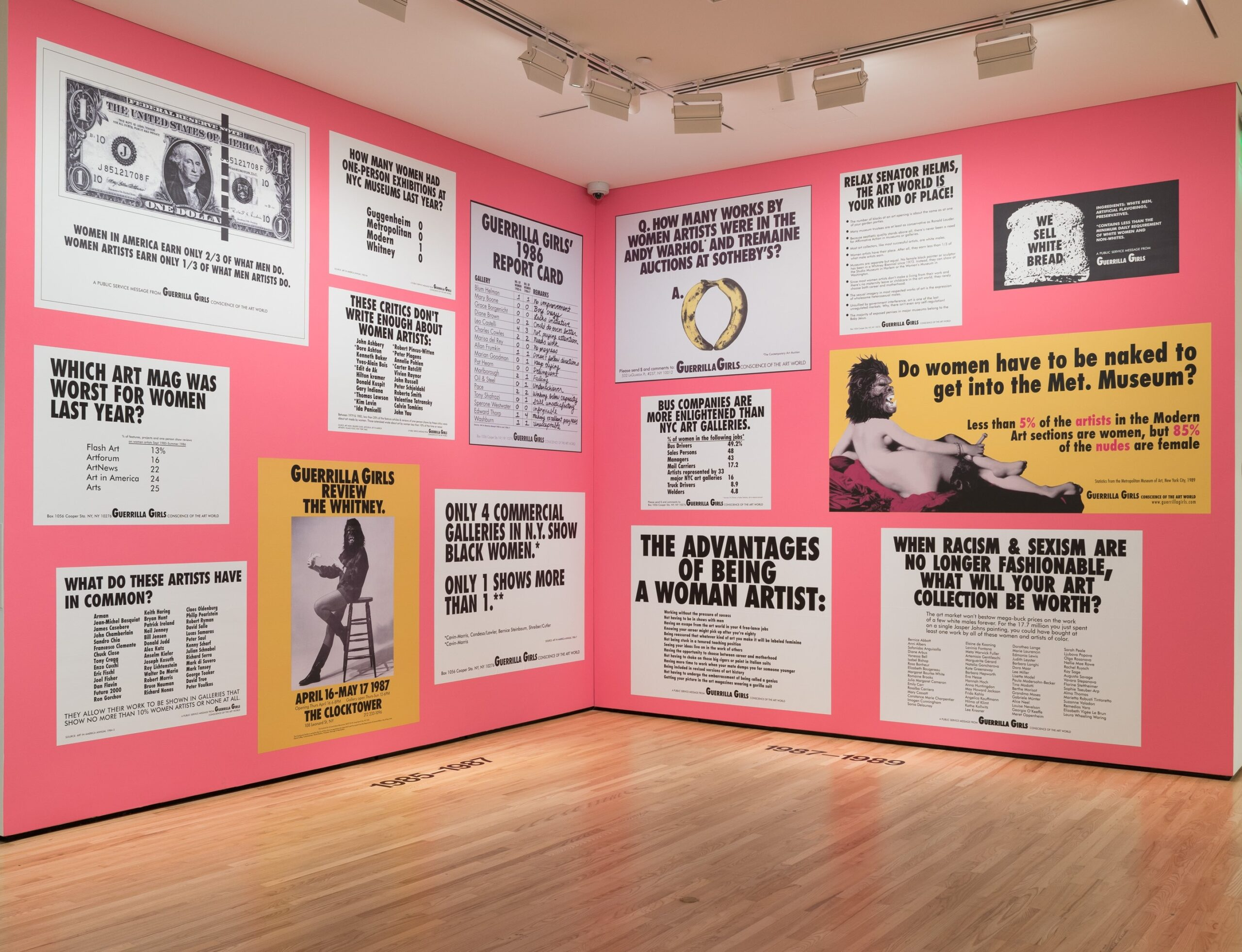 Installation view of Front Room: Guerrilla Girls, August 2016. Photo by Mitro Hood.
