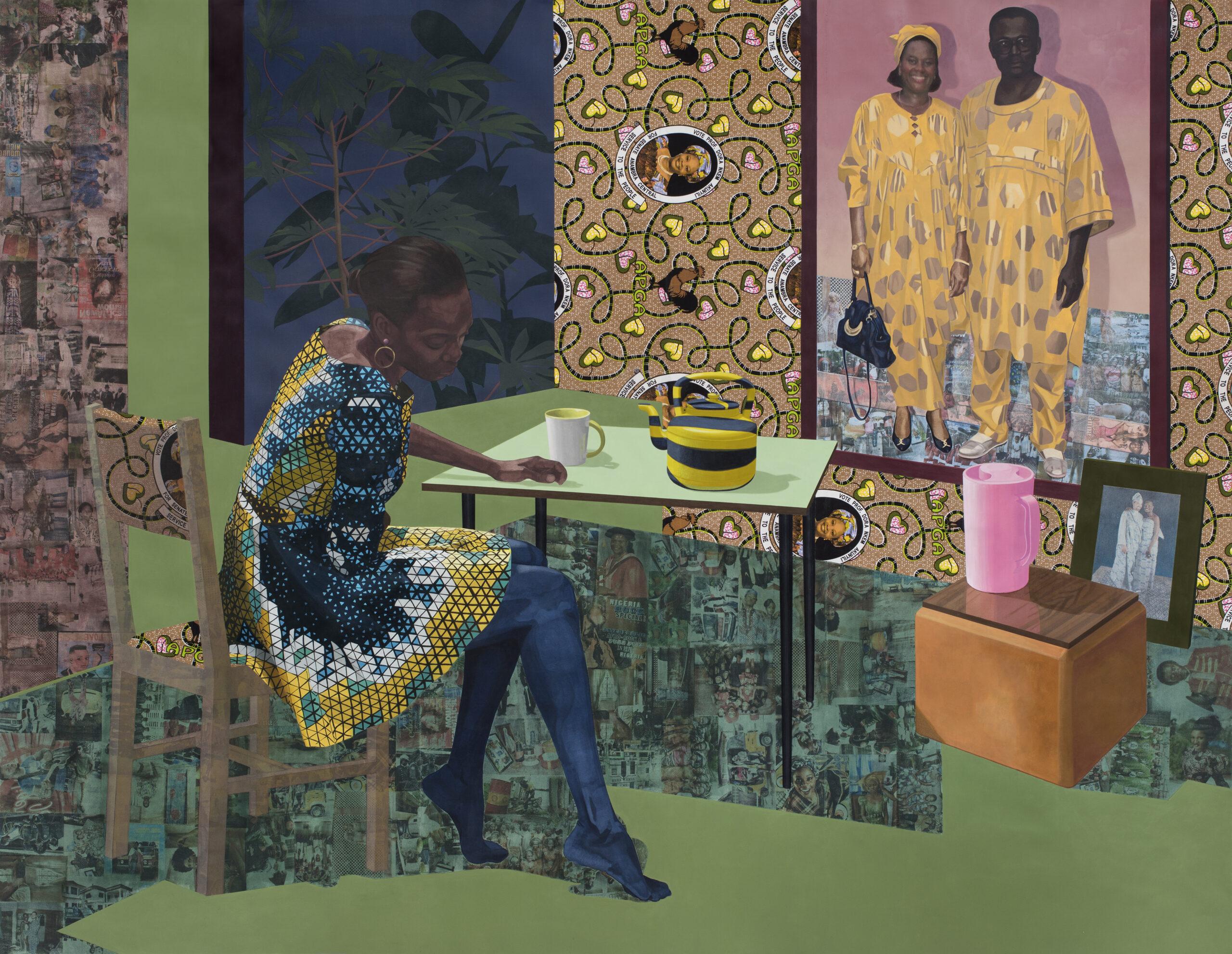 Njideka Akunyili Crosby. Dwell: Aso Ebi. 2017.  Courtesy the artist and Victoria Miro, London (photography Brian Forrest) © Njideka Akunyili Crosby.