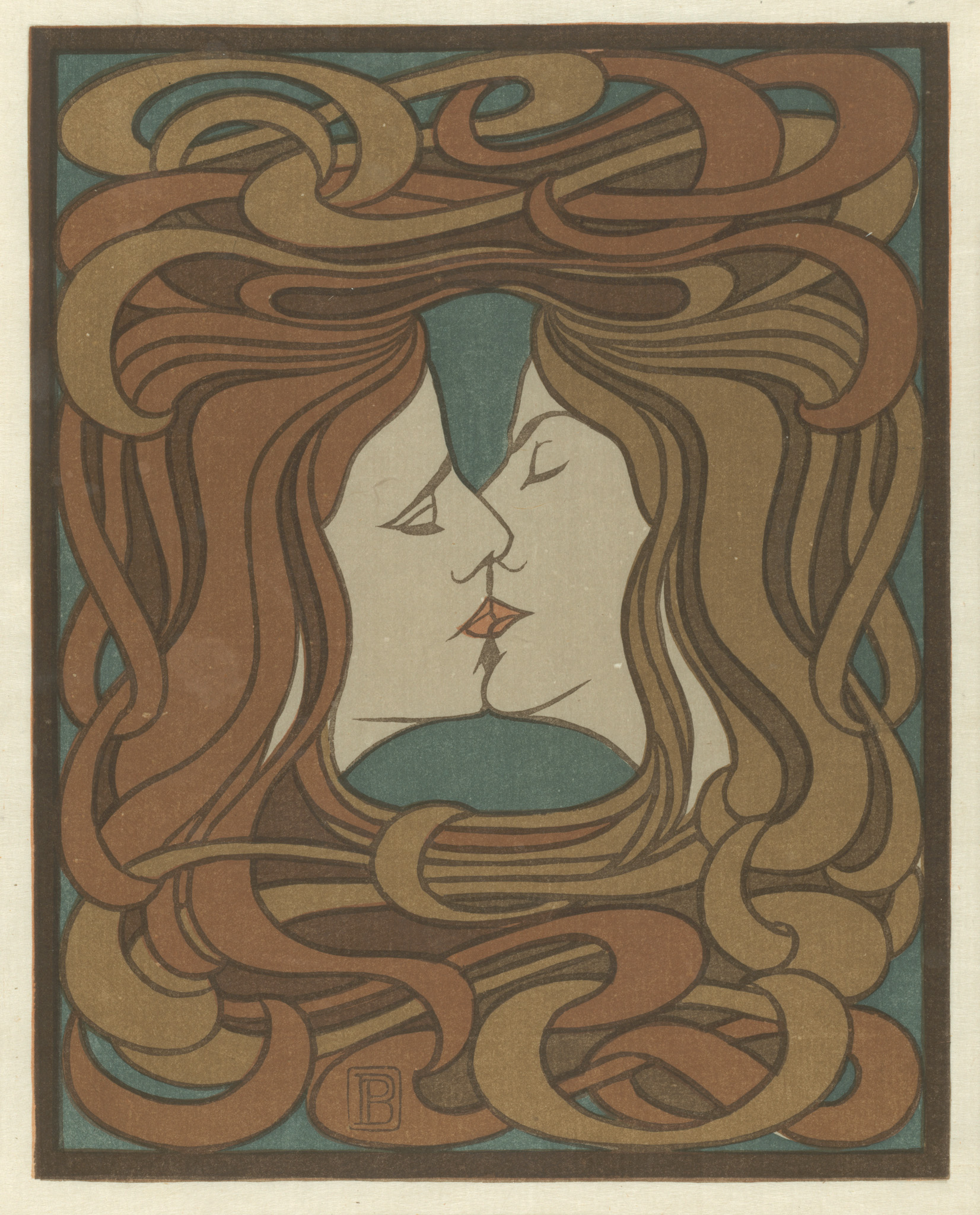 """Peter Behrens. The Kiss. 1898. Plate from the journal """"Pan"""" (Vol. IV, No. 2, July-August-Sept 1898). The Baltimore Museum of Art: Collection of LeRoy E. Hoffberger and Paula Gately Tillman-Hoffberger, BMA 2017.18"""