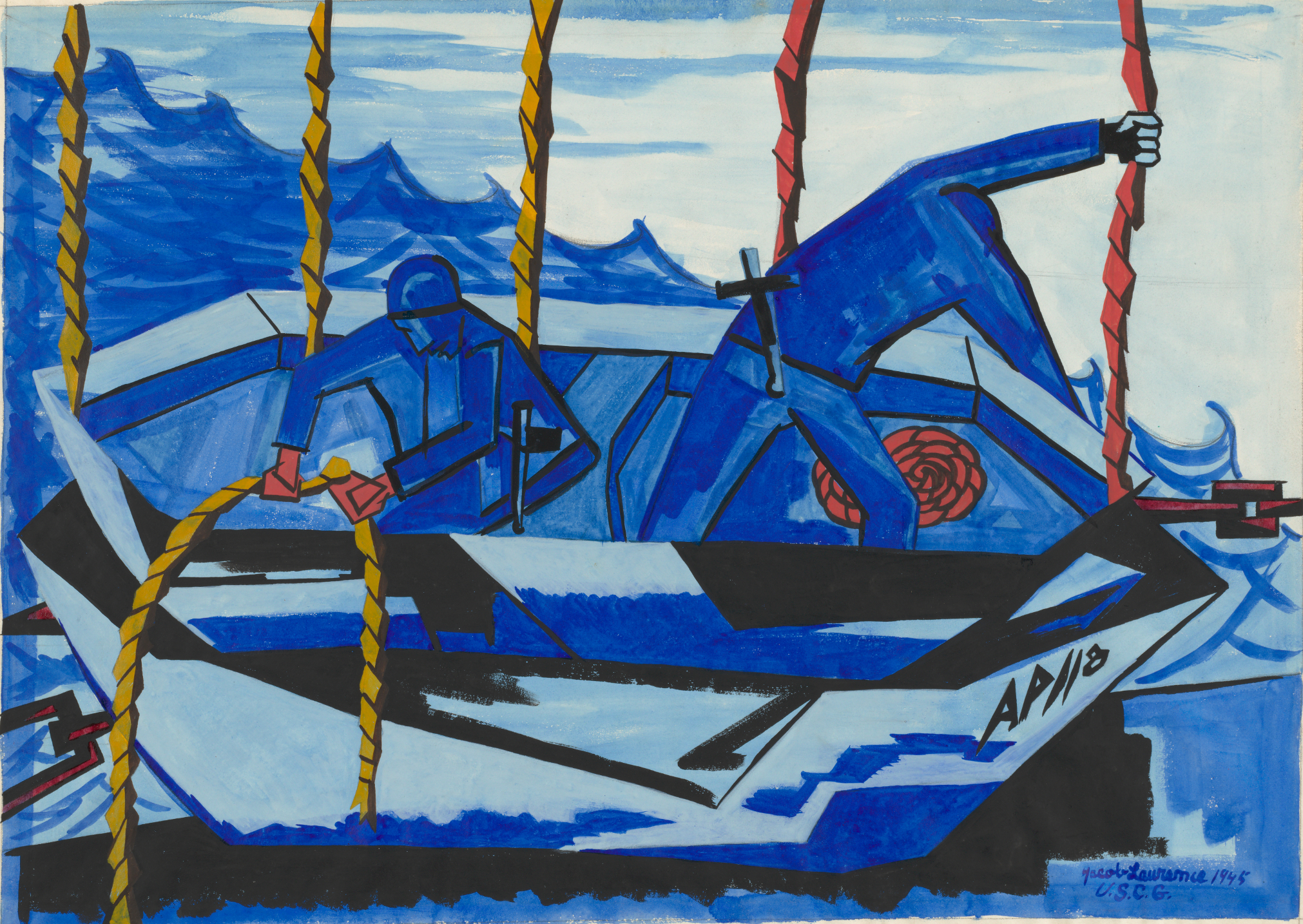 Jacob Lawrence. Lifeboat. 1945. The Baltimore Museum of Art: Purchased as the gift of the Art Committee of the Women's Cooperative Civic League, BMA 1946.135. © The Jacob and Gwendolyn Knight Lawrence Foundation, Seattle / Artists Rights Society (ARS), New York