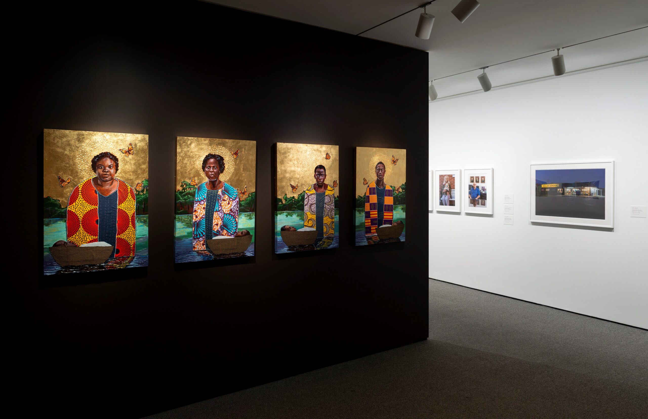 Installation view of works by 2018 Artscape Prize Finalists Stephen Towns and Nate Larsen. Photo by Mitro Hood.