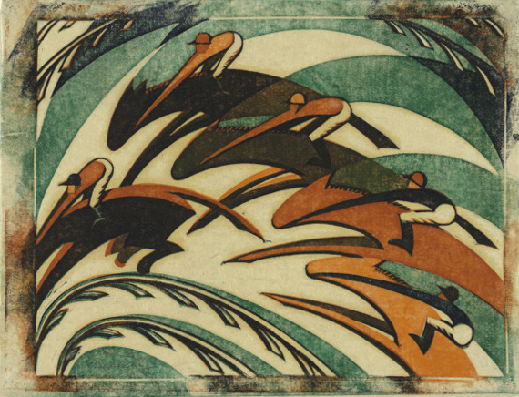 Sybil Andrews. Racing. 1934. The Baltimore Museum of Art: Purchased as the gift of the Print & Drawing Society, BMA 2001.339. © The Estate of Sybil Andrews, Glenbow, Calgary, Alberta, 2018