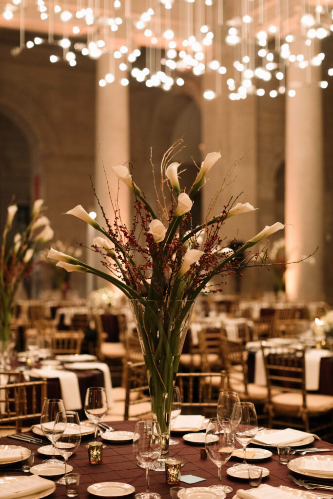 floral arrangement and place setting for a wedding in Fox Court
