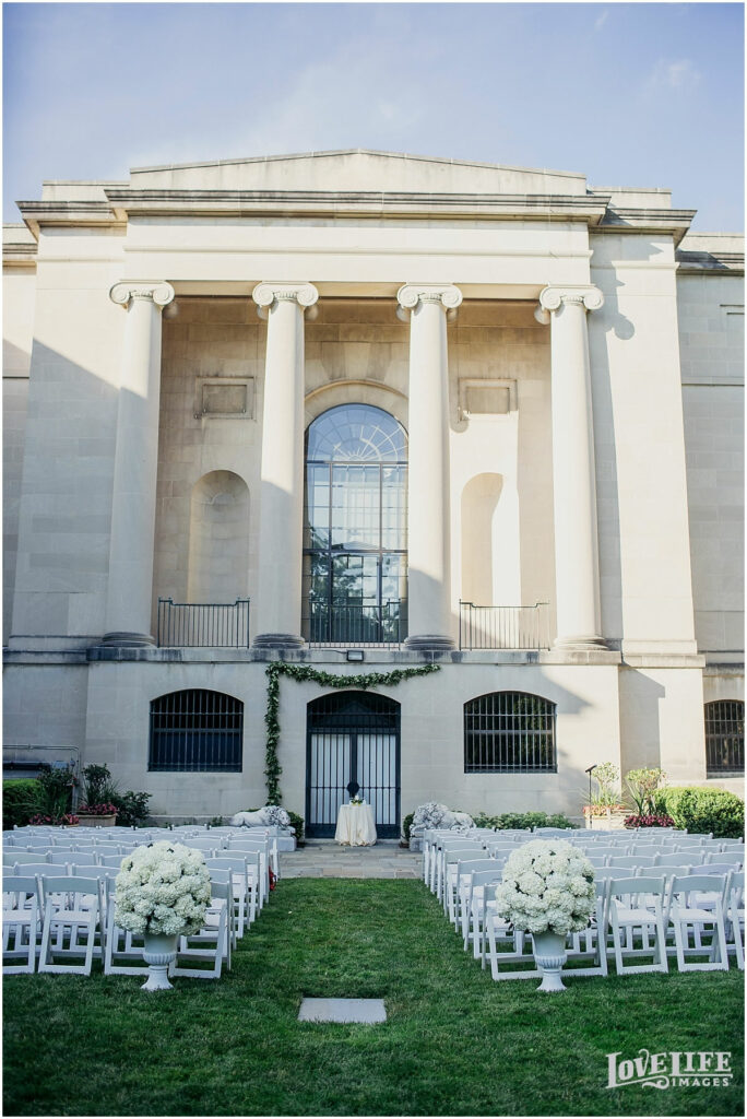 wedding ceremony set-up outside of Fox Court