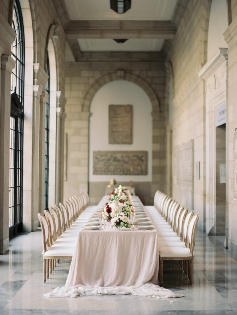 seated dinner set-up in Antioch court