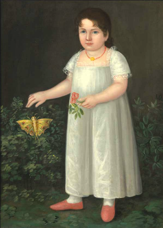 painting of a little girl in a garden with a flower and butterfly