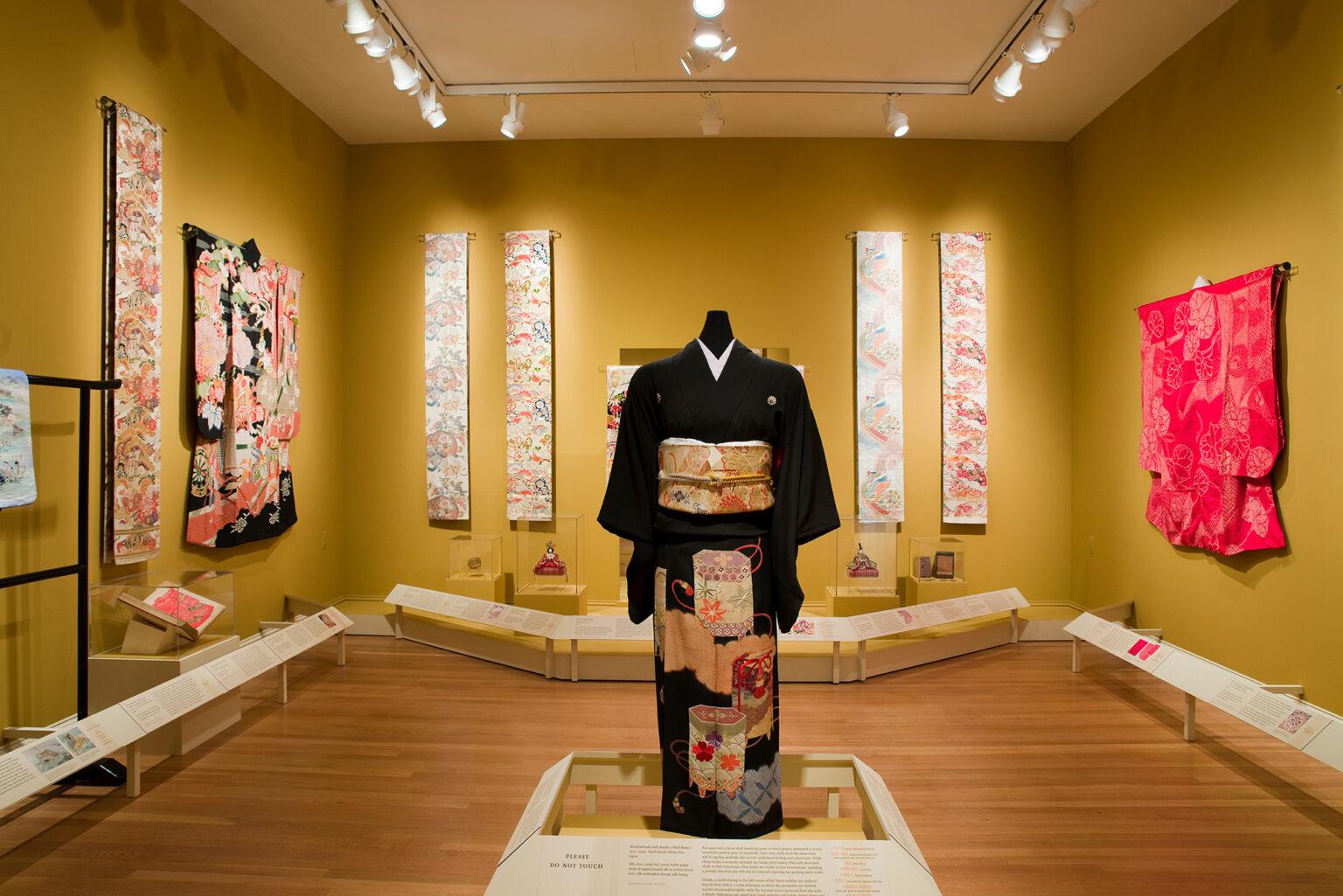 Installation view, Kimono & Obi: Romantic Echoes From Japan's Golden Age. Photo by Mitro Hood