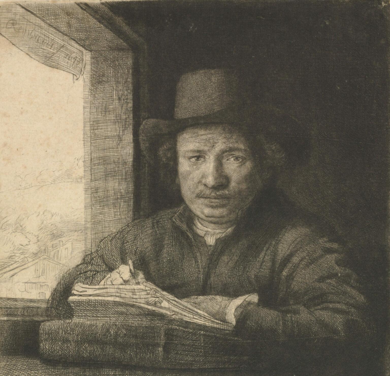 Rembrandt van Rijn. Self-Portrait Etching at a Window. 1648. The Baltimore Museum of Art: Garrett Collection, BMA 1946.112.777